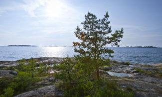 Näkymä Kuuskajaskarin kallioilta merelle.