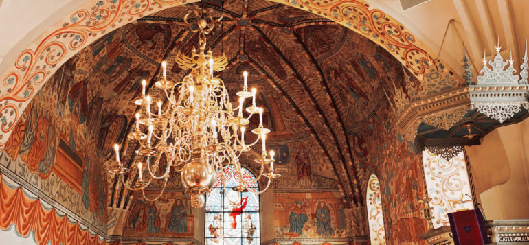 Chandelier and ceiling painting of the Church of the Holy Cross