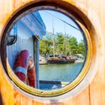 Round window of sailing ship Gerda