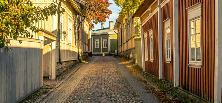 Street view of Old Rauma in autumn.