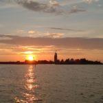 Sunset behind the Kylmäpihlaja lighthouse island.
