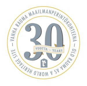 Vanha Rauma 30v maailmanperintökohteena -logo.